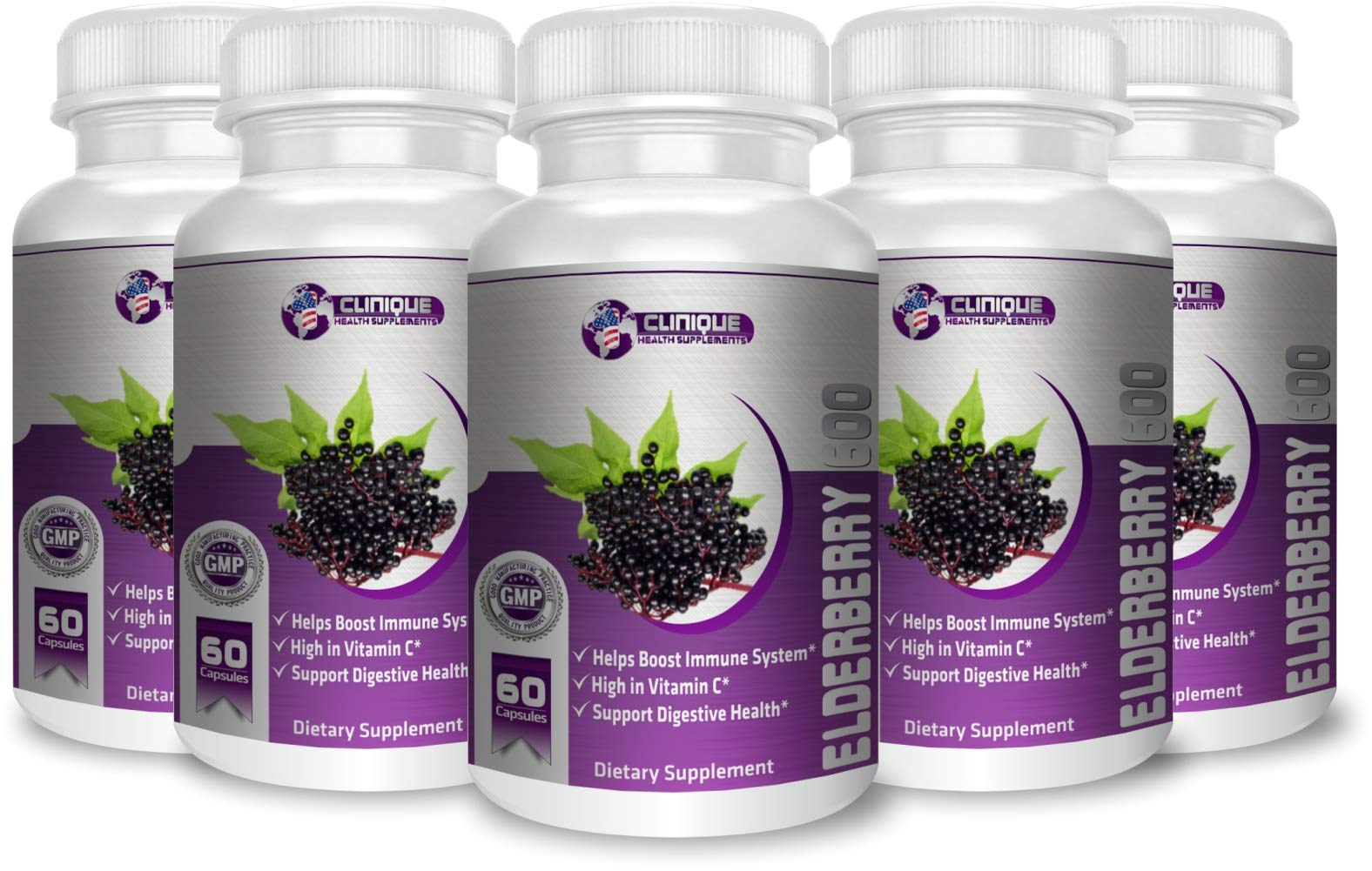 1Clinique's Elderberry   Standardized 5% Flavonoids   Elderberry Fruit Extract 5:1   High in Vitamin C   Helps Boost Immune System   Supports Digestive health   Value Pack 5 x 60 Capsule   Made In USA
