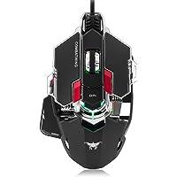 Combaterwing 4000 dpi Ratón óptico USB Professional Gaming programable con 10 botones RGB ratones llevado de respiración