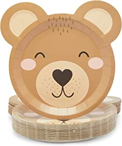 Teddy Bear Paper Plates for Baby Shower Decorations (9 x 10 In, 48 Pack)