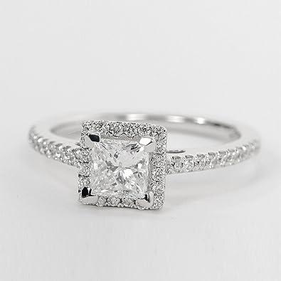 mejores ofertas en online aquí muy agradable 1.04 ct corte princesa anillo de compromiso de diamante 925 ...