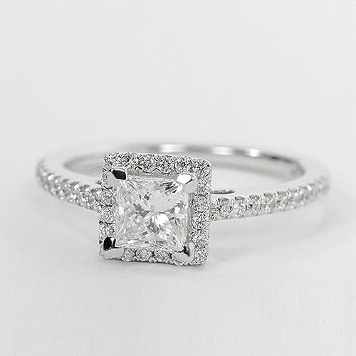 1.04 ct corte princesa anillo de compromiso de diamante 925 plata de ley oro blanco acabado