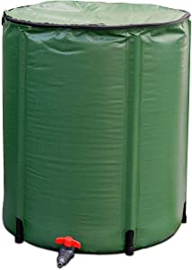 Goflame Rain Barrel Water Collector 50 Gallon Portable Foldable Collapsible Tank,Spigot Filter Water Storage Container, Green (50 Gallon)