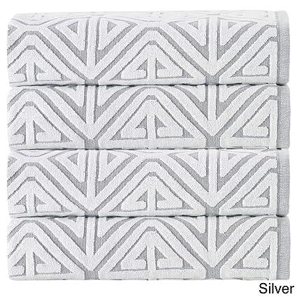 4 piezas Gris Jacquard juego de toallas, plata gris blanco formas geométricas Medallion tema toallas