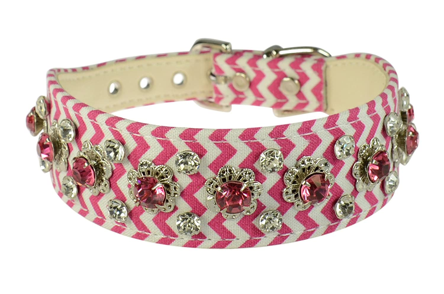 Evans Collars Shaped Collar with Dandy Pattern Jewels, Size 14, Mini Chevron, Pink