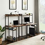 Home Office Double Desk, Two-Person Computer Desk with Storage, Large Desktop, Multi-Function Writing Desk with Shelf, Large