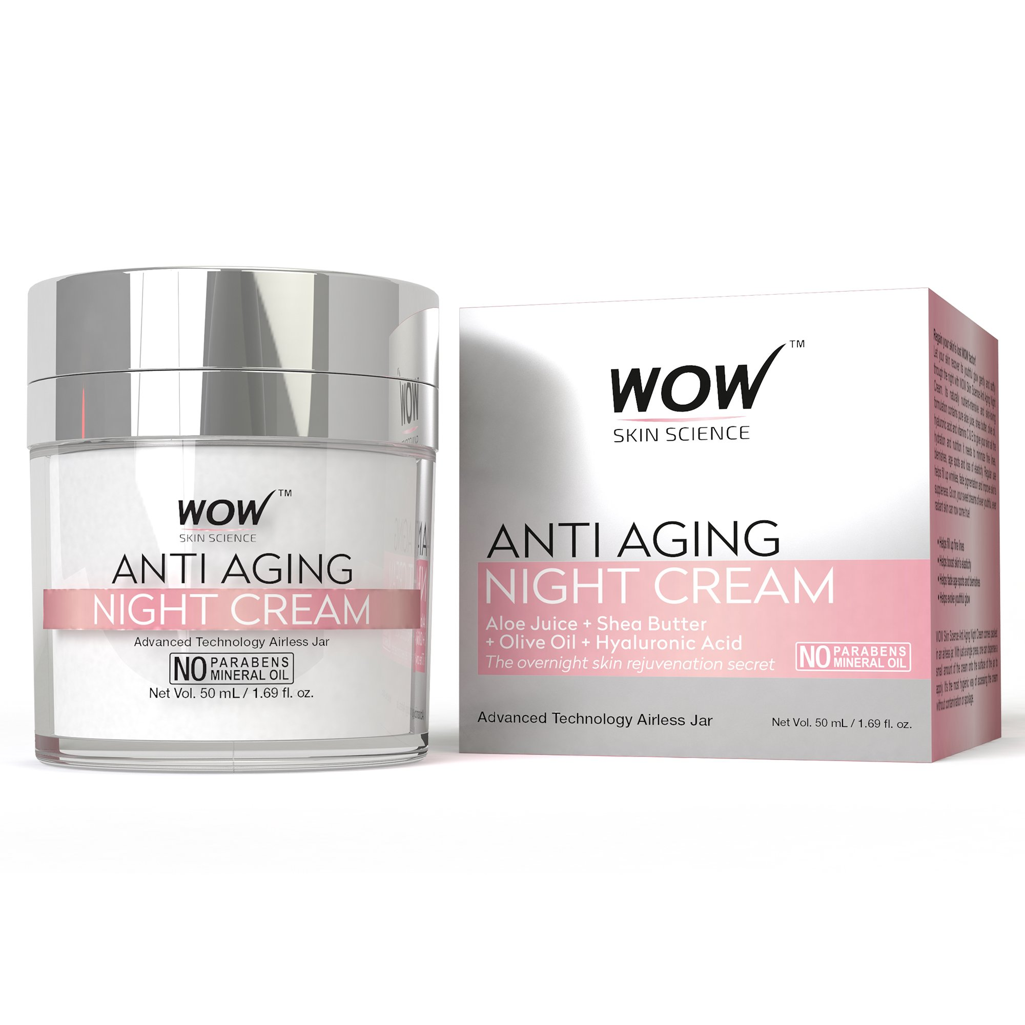 1a8c7cf8372 WOW Anti Aging No Parabens & Mineral Oil Night Cream, 50mL: Amazon.in:  Beauty