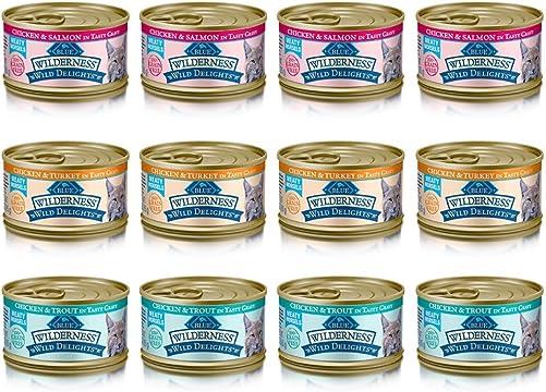 Blue Wilderness Wild Delights Grain Free Meaty Morsels Cat Food – 3 Flavors – Chicken Trout, Chicken Salmon, and Chicken Turkey 12 Pack