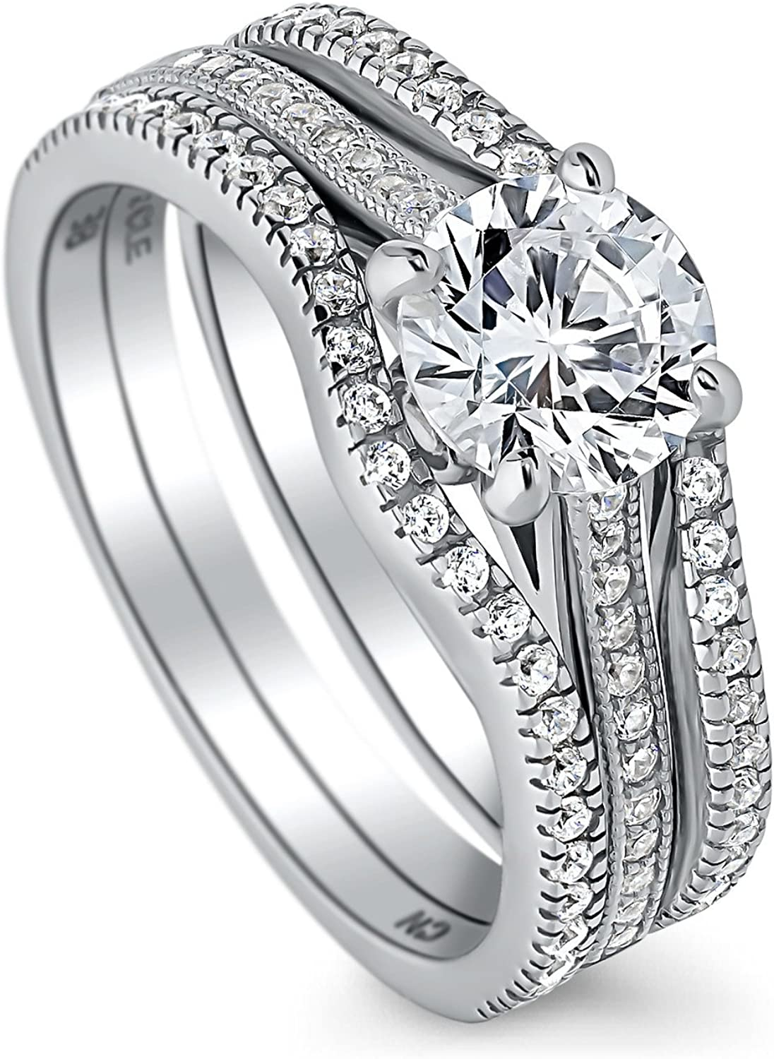 BERRICLE Rhodium Plated Sterling Silver Round Cubic Zirconia CZ Solitaire Engagement Wedding Ring Set 1.45 CTW
