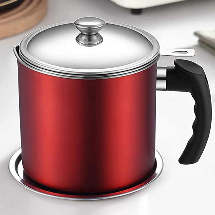 Frying Oil Pot Can with Strainer Bacon Grease Container with Fine Mesh Strainer 1.3L Oil Filter with Anti-scalding Handle and Coaster Tray Oil Storage Pot Can for Cooking Oil, Frying Oil Red