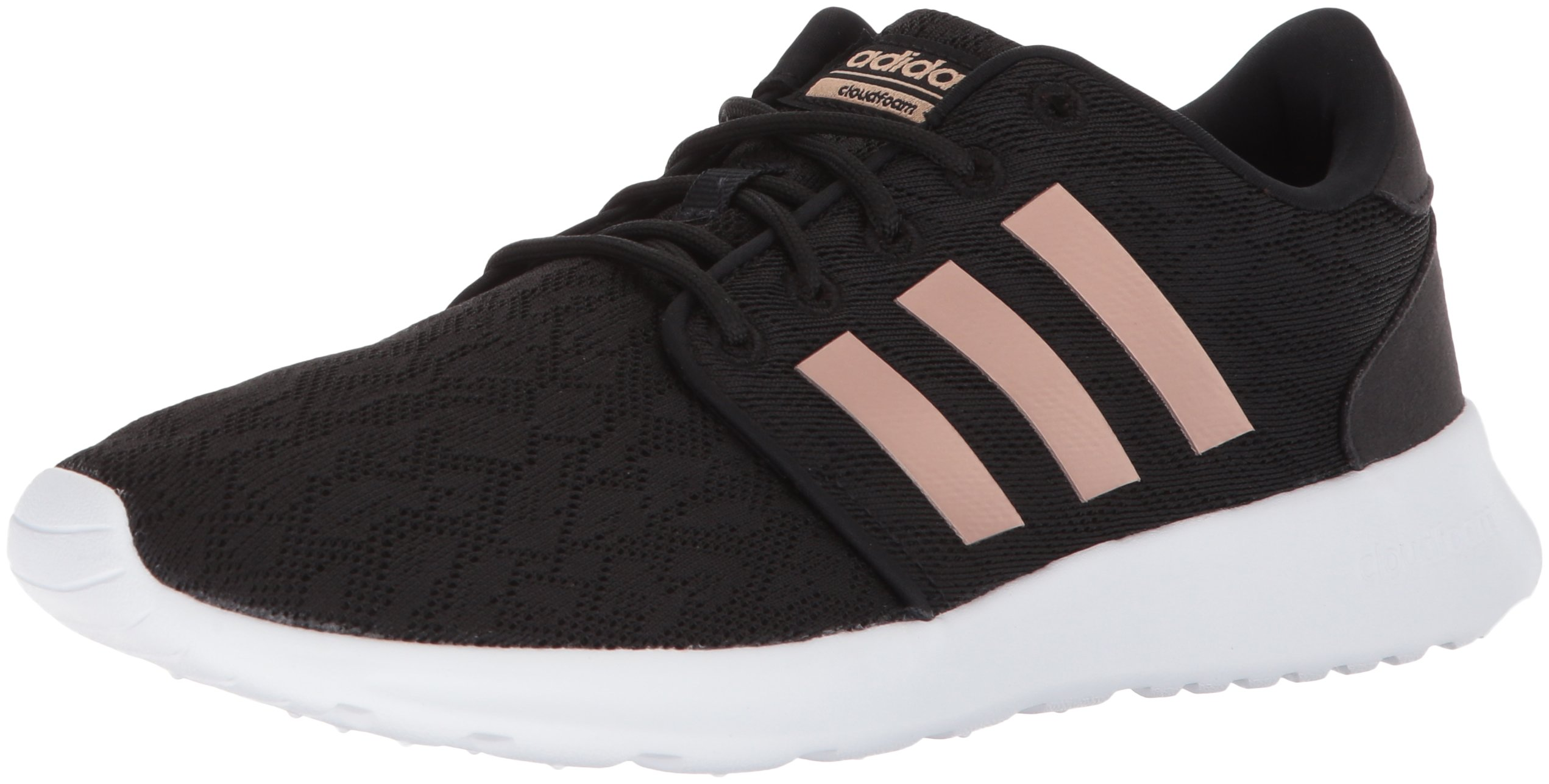 adidas Women's CF QT Racer W Sneaker, Core Black, Copper Met, White, 6 M US