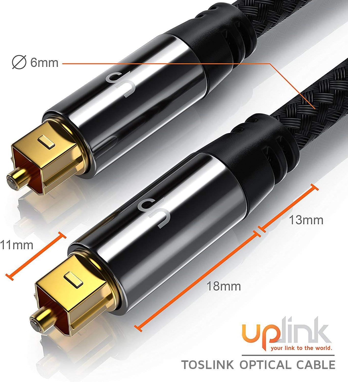 m/ètres 3m Optique//num/érique Uplink C/âble Toslink HQ Platinum | Connecteur Toslink Connecteur HQ en m/étal avec Contacts plaqu/és dor Home Entertainment//HiFi//Consoles Fibre Optique