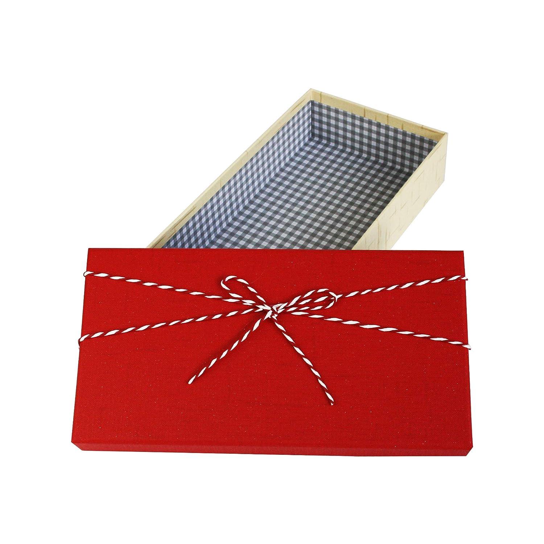 Interior a Cuadros y Cinta Decorativa a Rayas Caja Crema Texturizada Con Tapa Roja Emartbuy Conjunto de 3 R/ígido Lujo Rect/ángulo en Forma de Caja De Regalo de Presentaci/ón Delgado