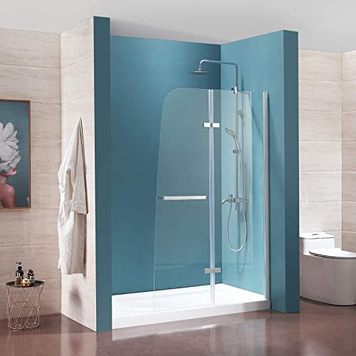 Mecor Frameless Hinged Shower Door 44 W x 72 H1 4 Clear Tempered Glass Door Chrome Finish