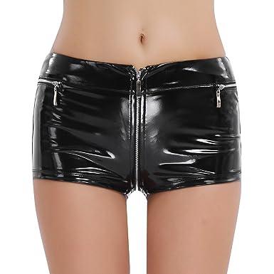 FEESHOW Mini Short en Cuir Verni Brillant Culotte à Zip Serré pour Femme  Noir S 2f6cbbf74c5