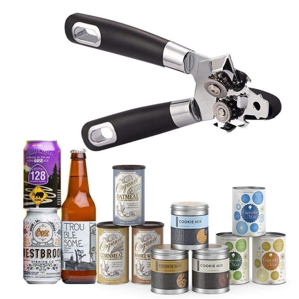 Manual Multi-function Can Opener-Built in Bottle Opener-Heavy Duty Stainless Steel Blades-Easy Turn Knob & Ergonomic Handles-Best Kitchen Tool