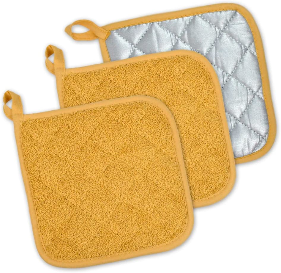 DII 100% Cotton, Quilted Terry Oven Set Machine Washable, Heat Resistant with Hanging Loop, Potholder, Mustard 3 Piece