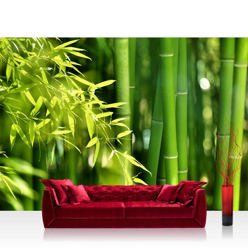 Textil Fototapete 400x280 cm PREMIUM EXCLUSIV Wand Foto Tapete Wand Bild Textilfototapete - ASIA BAMBOO - Bambus Bambuswald Dschungel Asia Asien Grün Bambusweg - no. 018