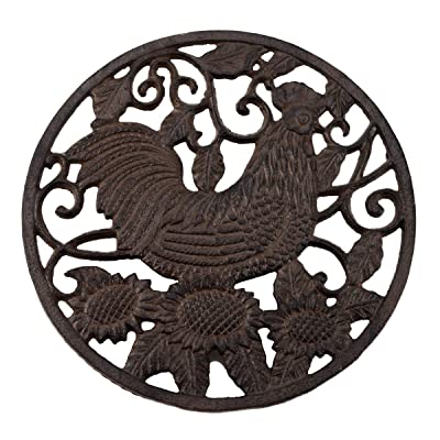 Treasure Gurus Cast Iron Rooster Garden Stepping Stone Rustic Metal Yard Walkway Decor: Kitchen & Dining