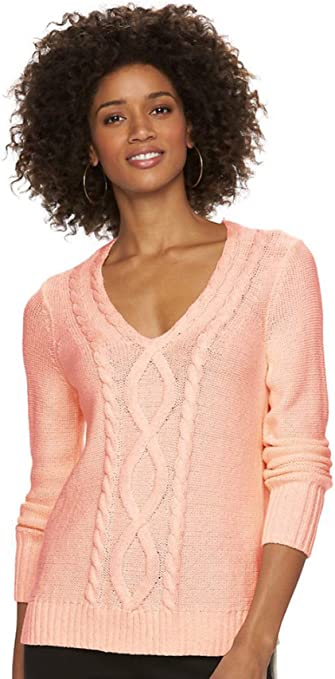 Chaps Women's Cable Knit V Neck Long Sleeve Sweater at