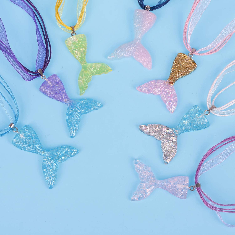 Amazon.com: Collar con colgante de cola de sirena para niñas ...