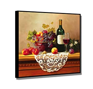 """Framed Wine Pictures, SZ Vibrant Fruits Wall Art for Kitchen, Matted Black Floater Frame Canvas Prints Reproduction of Retro Vintage Oil Paintings, Ready to Hang, 1.4"""" Thick, 20x20 in"""