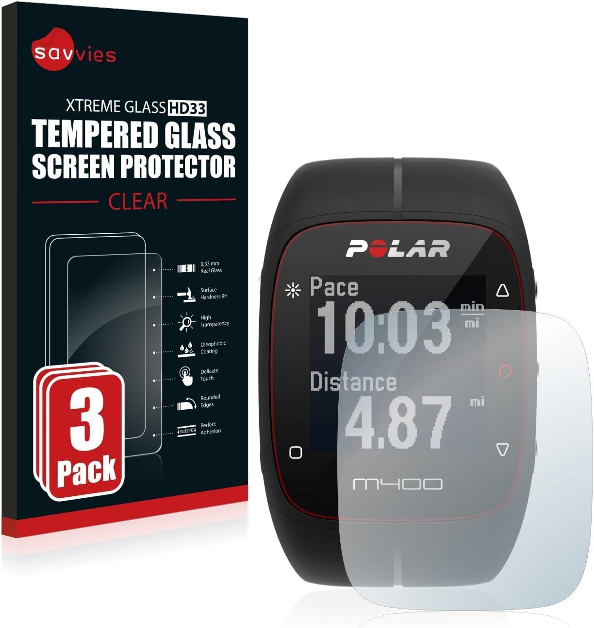 savvies Cristal Templado Compatible con Polar M400 / M430 (3 Unidades) Protector Pantalla Vidrio Proteccion 9H Pelicula Anti-Huellas