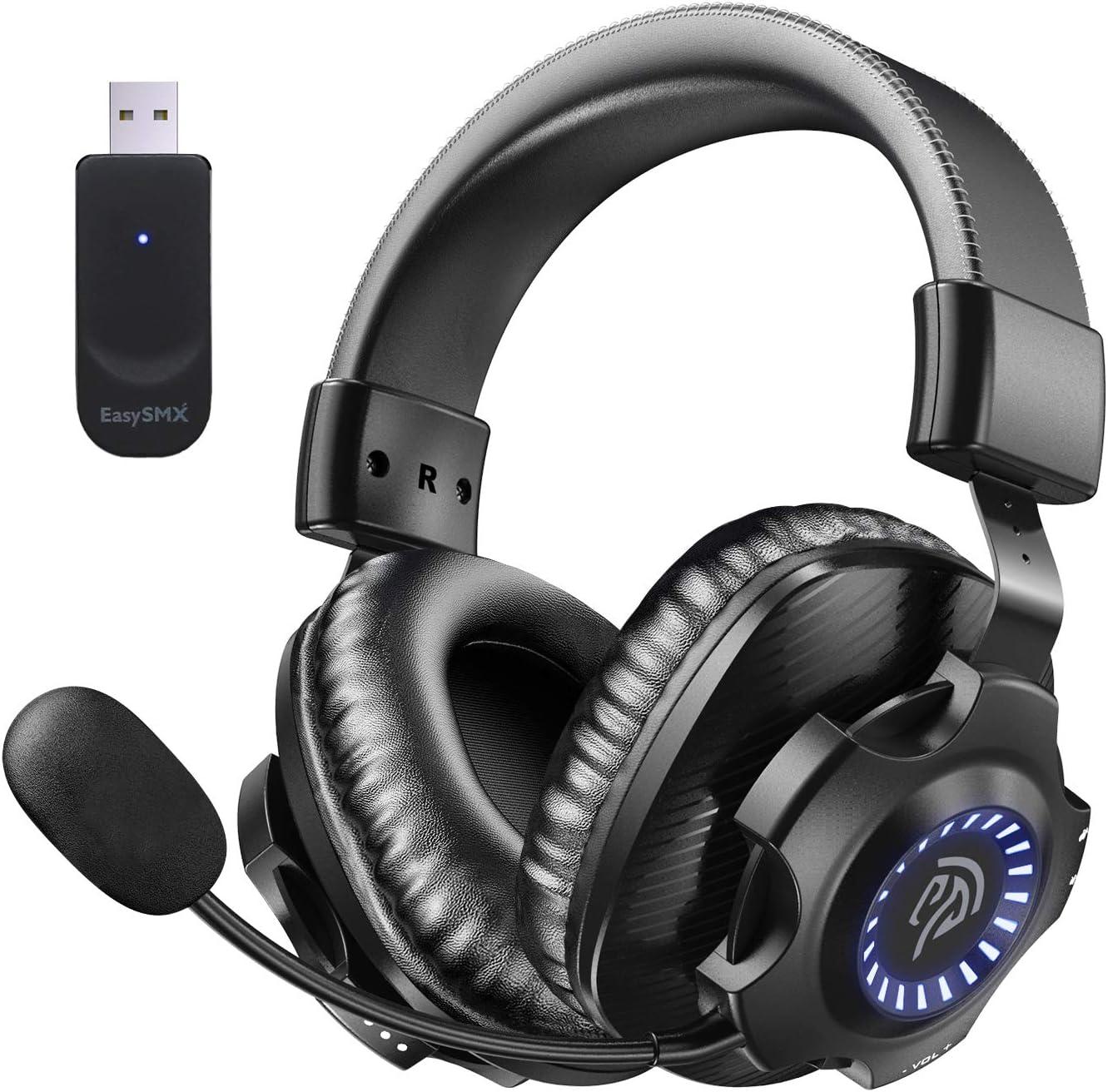 REDSTORM Auriculares Inalámbricos, 2.4G Auriculares para Juegos Estéreo Inalámbricos, con Micrófono y Control de Volumen, Adecuados para PC, Mac, PS4, Iluminación Degradada RGB