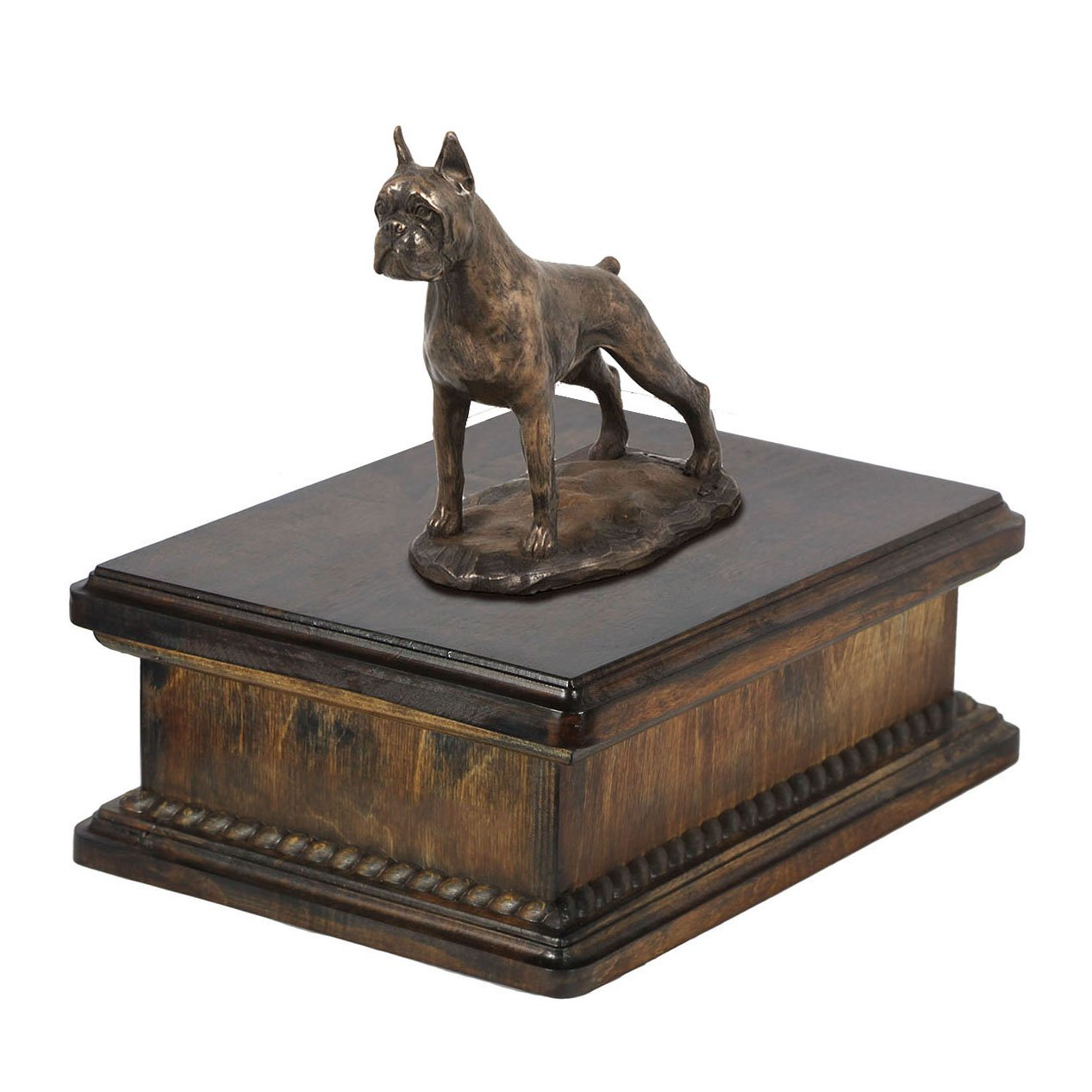 Boxer (cropped), memorial, urn for dog's ashes, with dog statue, exclusive, ArtDog