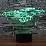 Star Trek USS Enterprise Illusion Optique Lampe 3D LED Lumière 7 Couleur Touche Switch+Câble USB Décor Pr Maison Bar Café