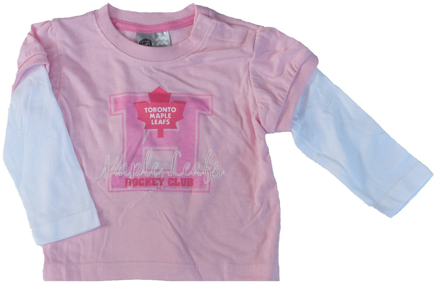 Toronto Maple Leafs Baby Girls Pink Faux Layer Long Sleeve T-Shirt (12 Months) Mighty Mac