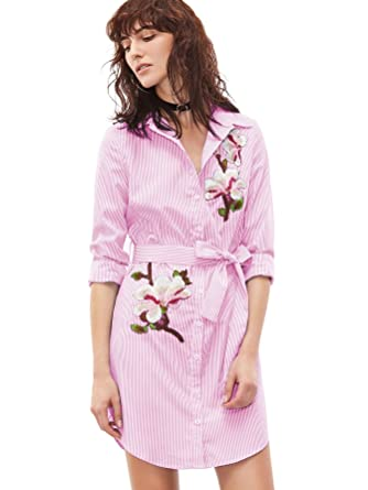 3dc20969abd2 Floerns Women's Long Sleeve Vertical Striped Embroidered Floral Shirt Dress  Pink and White XS
