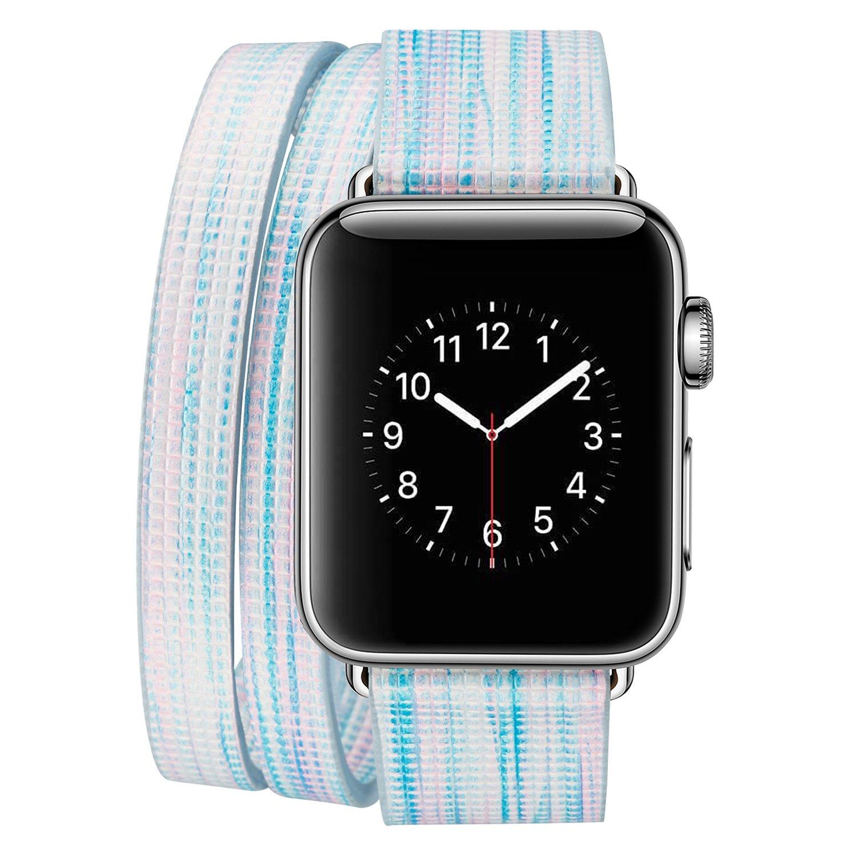 Qkldm Bracelet pour Apple Watch 42mm, Cuir PU Bracelet de Rechange avec Acier Inoxydable Boucle de Ceinture Cuir Watch pour Apple Watch 42mm série 1/2/3 (/*91)
