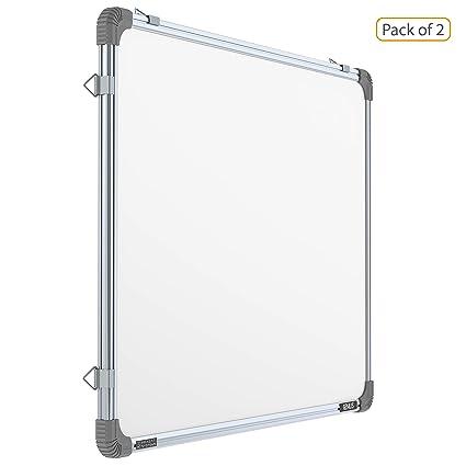 Pragati Systems Genius Melamine (Non-magnetic) Whiteboard GWB6090,  Lightweight Aluminium Frame, 2x3 Feet (Pack of 2)