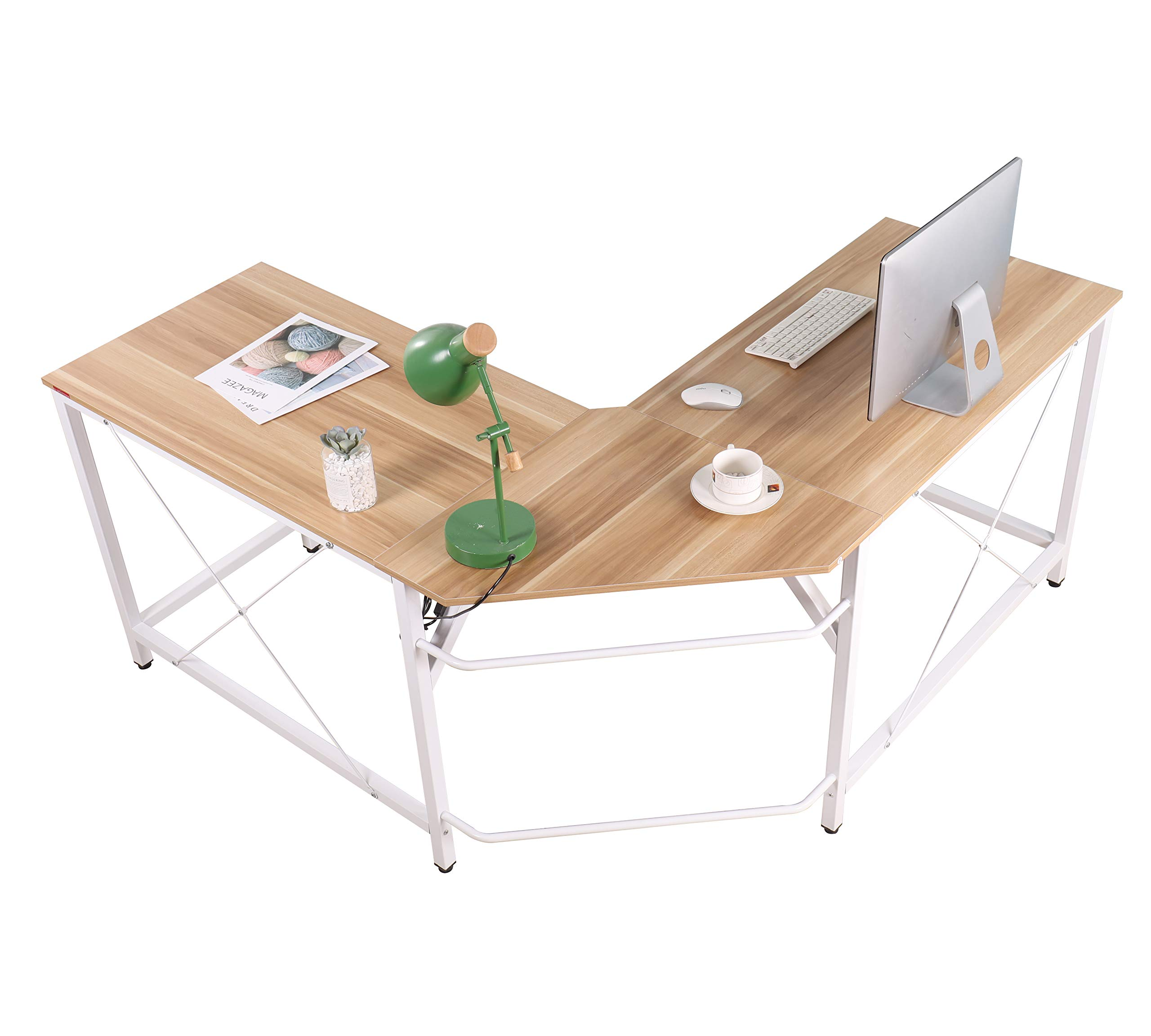Mr IRONSTONE L-Shaped Desk Corner Table Computer Desk 59'' PC Laptop Study Writing Table Workstation for Home Office by Mr IRONSTONE