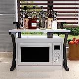 ILQ Estante de la cocina Capas dobles Madera + Acero inoxidable Estantes de la microonda /