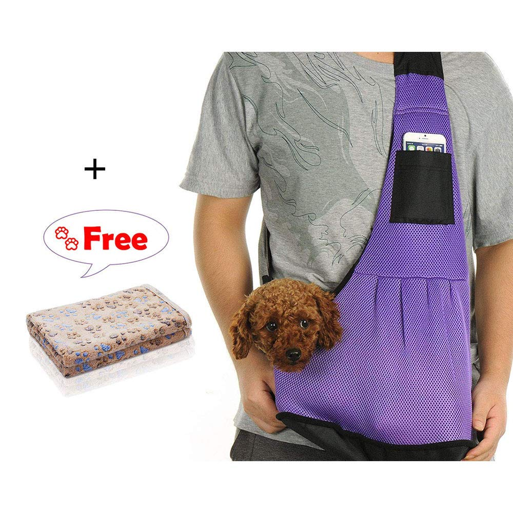 Pet Carrier Sling Bag Blanket Set, Adjustable Strap and Comfortable Single Shoulder Bag for Small Dog,Breathable Mesh Bag Let Your Pet Stand with Comfort - Outdoor Pet Supplies by MODESLAB