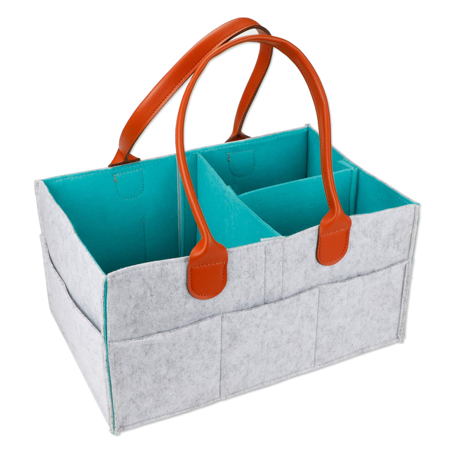Baby Diaper Caddy | Nursery Diaper Tote Bag | Large Portable Car Travel Organizer | Boy Girl Diaper Storage Bin for Changing Table | Baby Shower Gift Basket (Large) MojiDecor