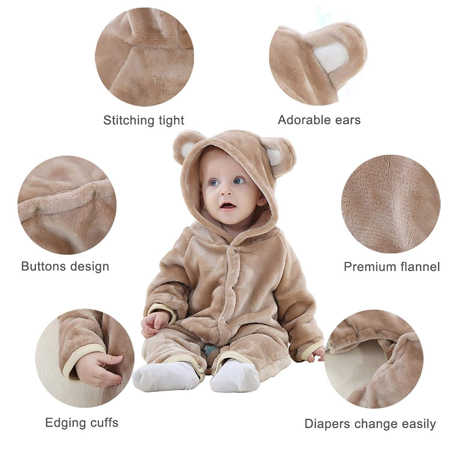 TSHSUN Baby Girls Boys Toddler Romper Bear Outfit Flannel Style Jumpsuit Autumn /& Winter Cosplay Clothes 13-18 Months, Brown