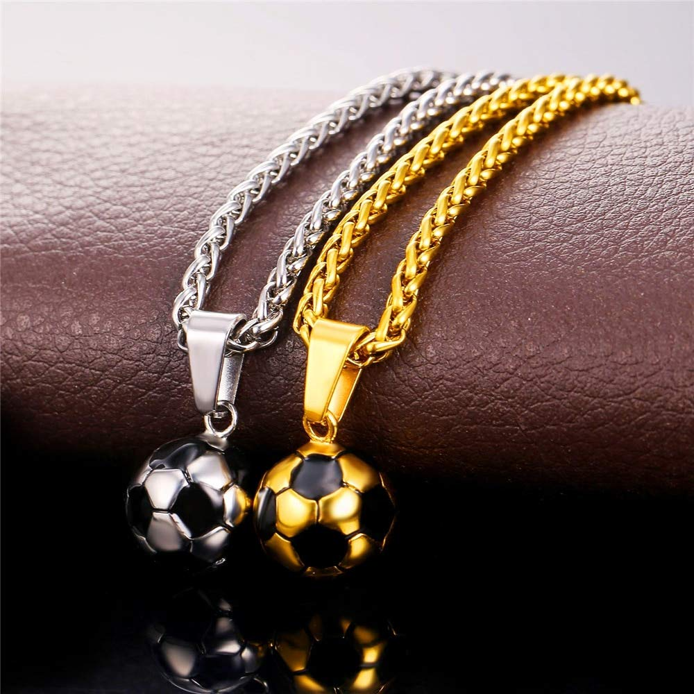 Metal Color: Gold-Color Davitu Sporty Necklace Football Pendant with Chain Stainless Steel Soccer Necklace Gold Color Men//Women Sport Ball Jewelry P136
