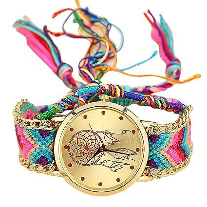 WM & MW Women Girls Vintage Handmade Woven Bohemia Band Quartz Watch Dream Catcher Friendship Watches