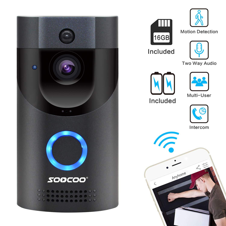 WIFI Video Doorbell, SOOCOO Smart Doorbell 720P HD Wifi Security Camera Real-Time Video Two-Way Audio & 16G Card & 2 Batteries, IP65 Waterproof, PIR Motion Detection, Night Vision, APP Monitor-Gray