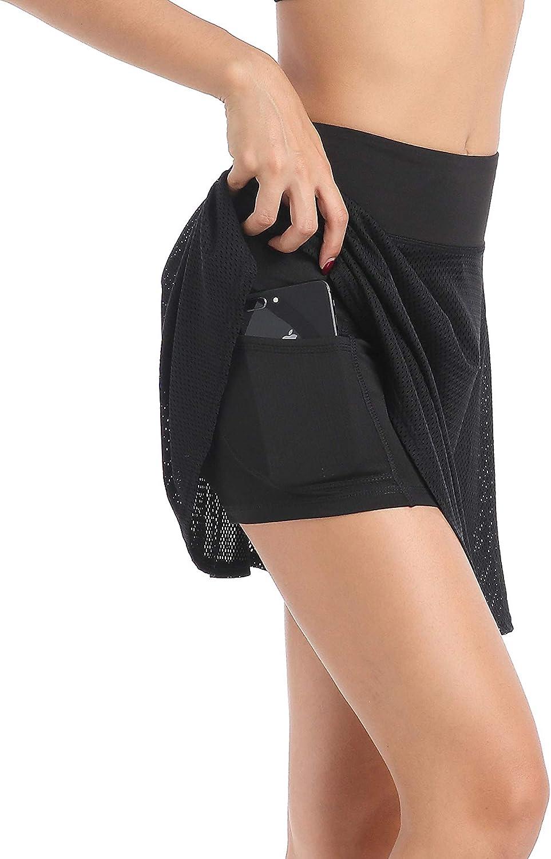 EAST HONG Falda Deportiva para Mujer con Bolsillo y Cintura Alta con Pantalones Cortos Interiores