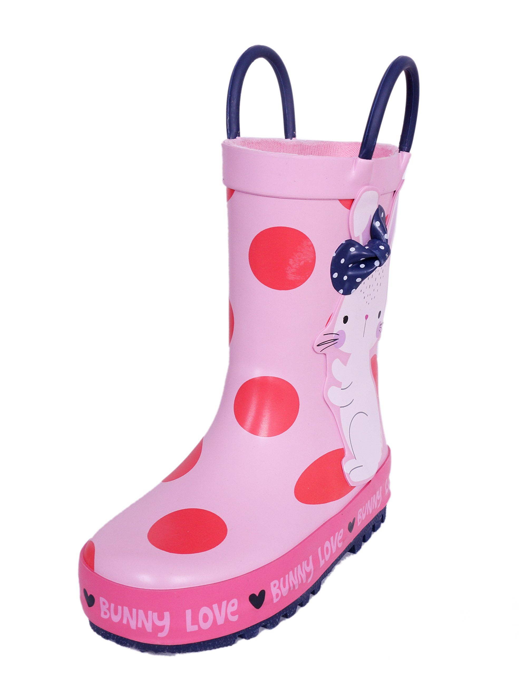 SHOFORT Children's Waterproof Rubber Rain Boots with Built-in Handles for Little Kids Girls, Pink Polka Dot Pattern, Size 11