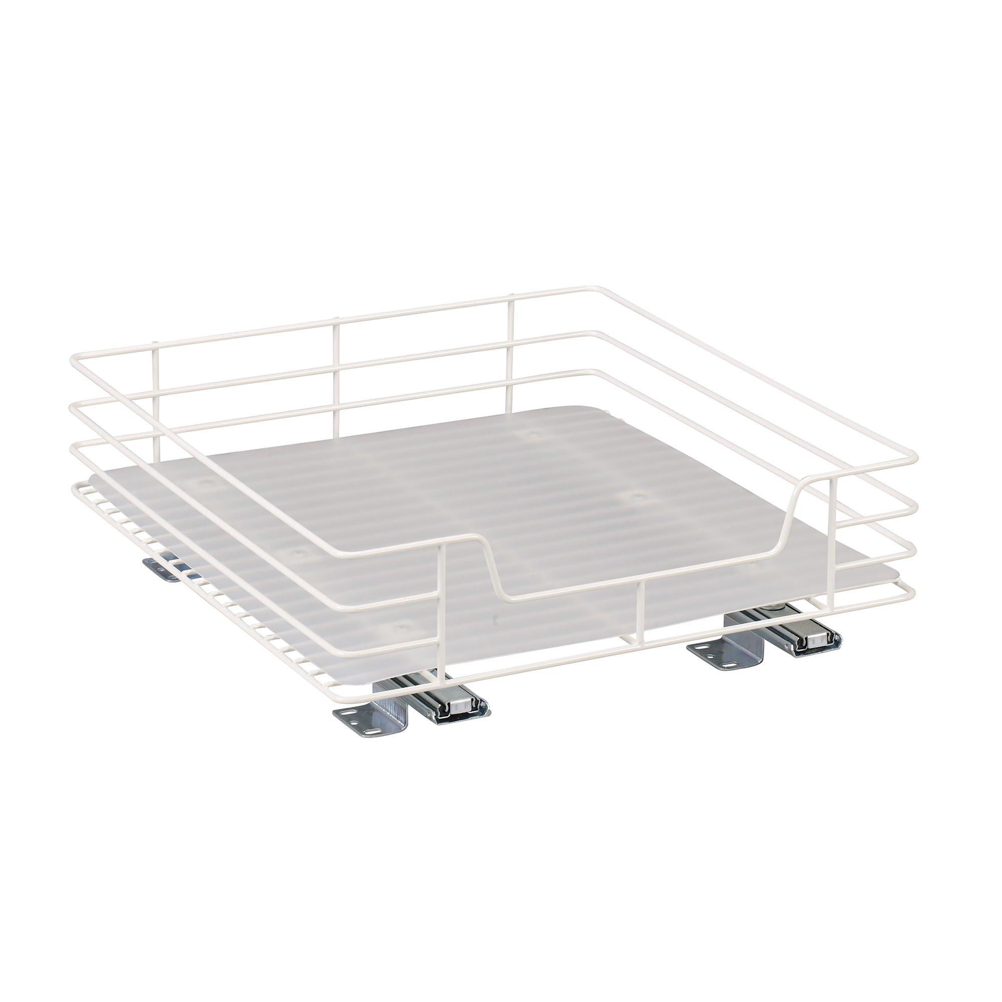 Household Essentials 1516-1 Glidez Undersink Sliding Organizer | Pull Out Cabinet Shelf | White | 15-Inch