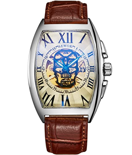 SEWOR Reloj de pulsera mecánico automático, con dibujo de calavera, para hombre, correa