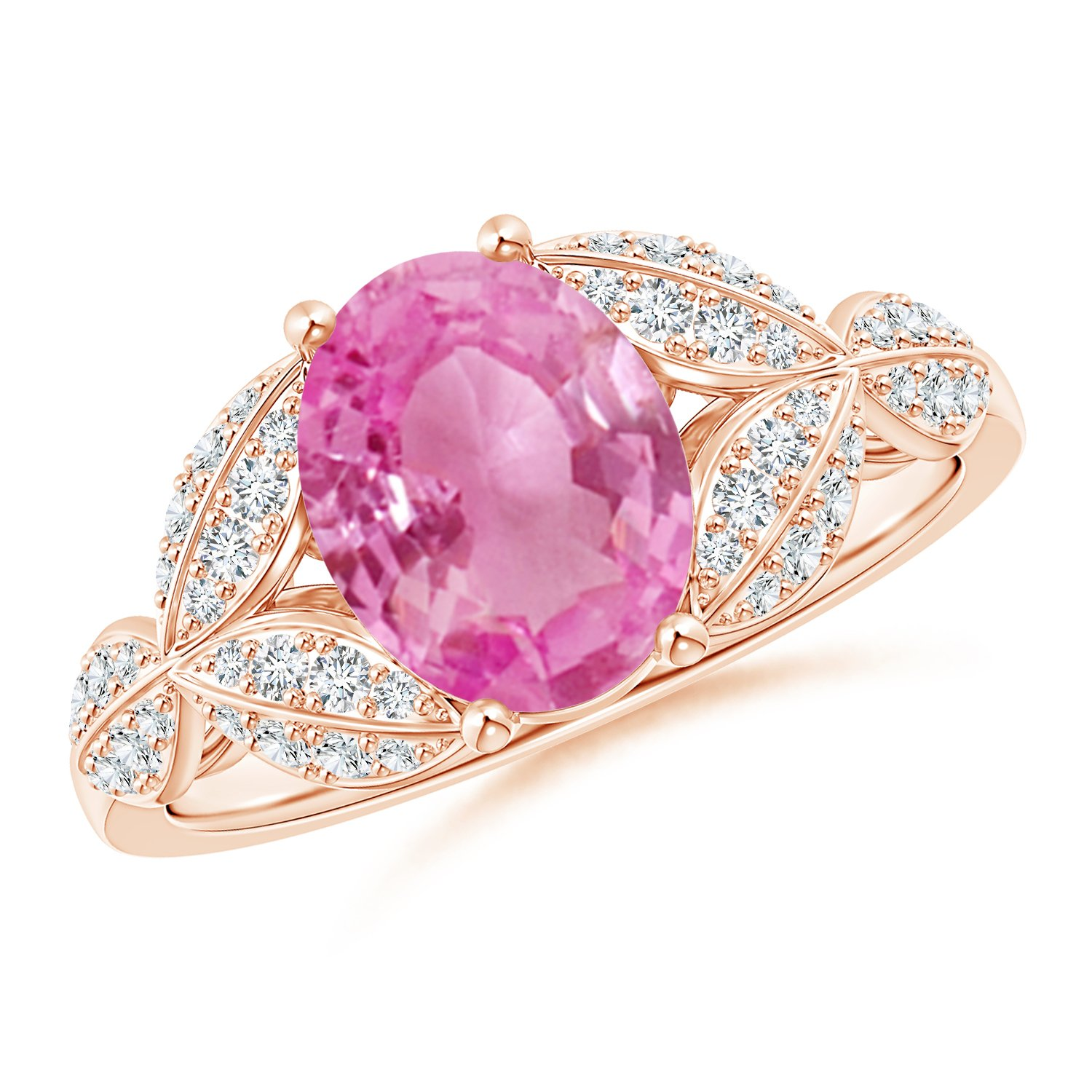 Pink Sapphire and Diamond Trillium Petal Flower Ring for Women ...