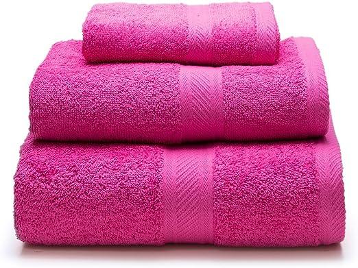 Sancarlos - Juego de 3 toallas YANAI, 100% Algodón, Color Fucsia ...