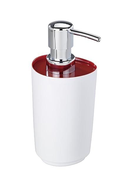 Wenko 19453100 Alcamo - Dispensador de jabón líquido (melamina), color blanco y rojo