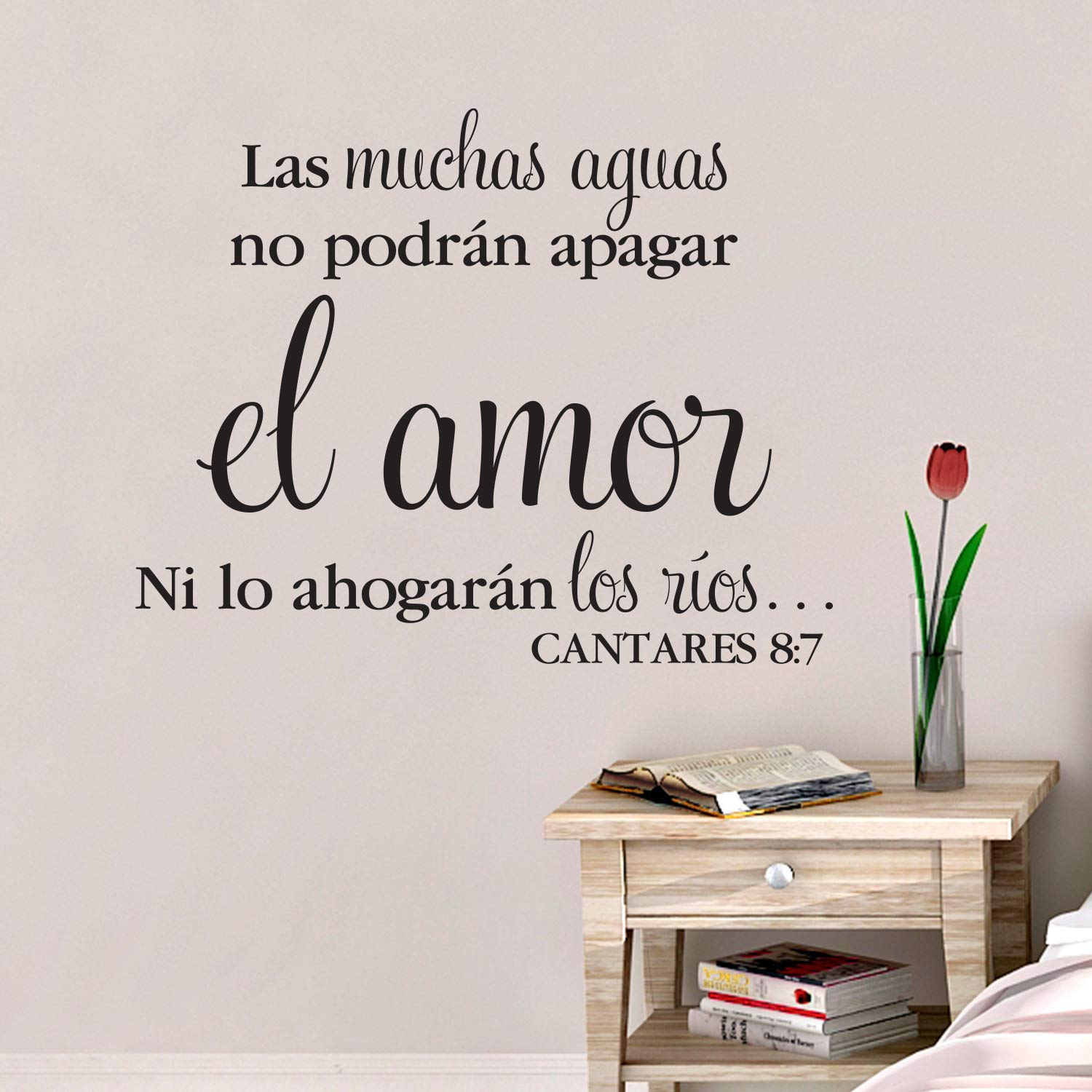The many waters cannot quench love Cantares 8 Las muchas aguas no podran apagar el amor Song of Solomon 8:7 Spanish Vinyl Wall Decal by Wild Eyes Signs SOS8V7-0001 Spanish Bible Verse