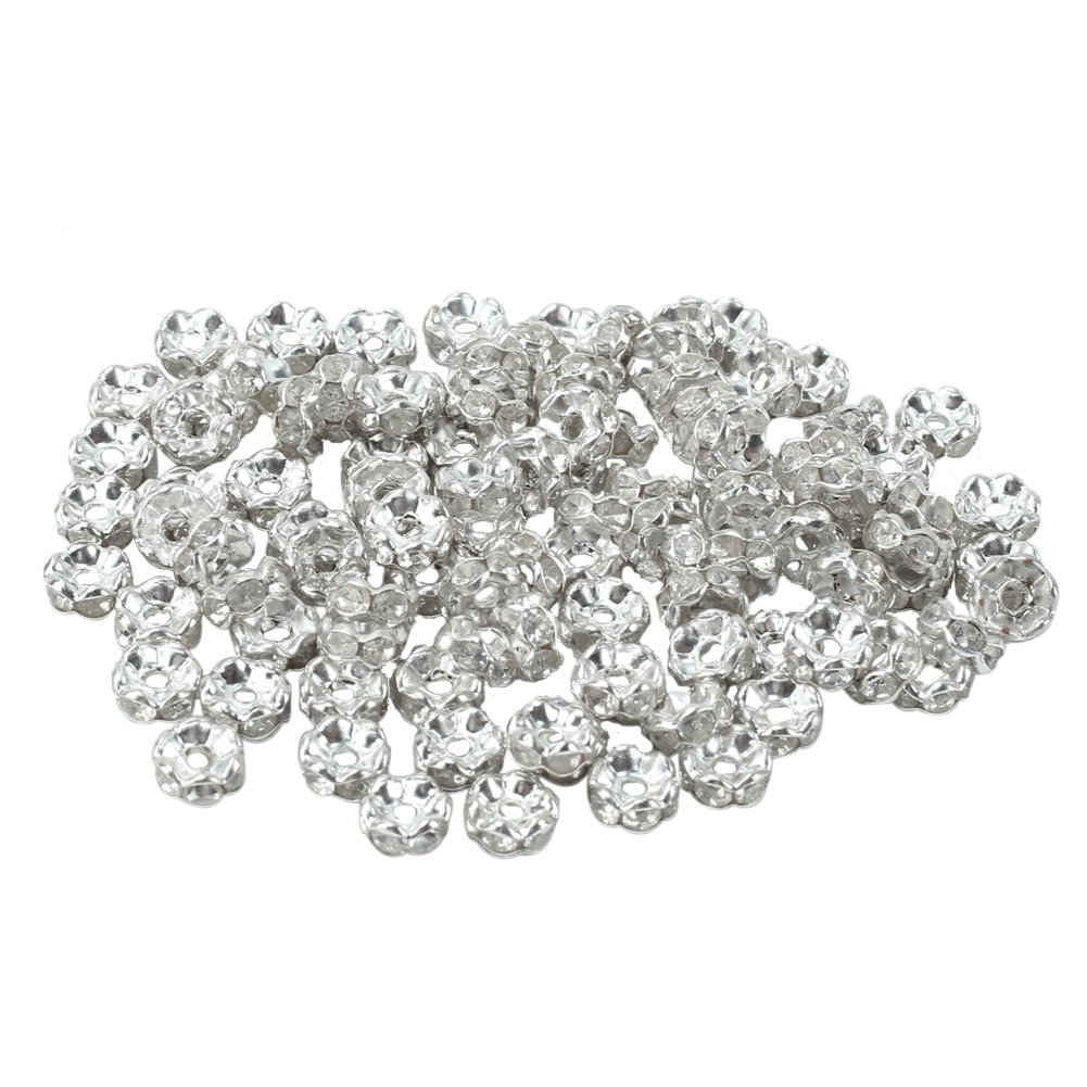 100pcs 6mm Crystal Rhinestone Rondelle Charm Spacer Beads for Jewelry Making DIY Refaxi vx-2edn-m2xd